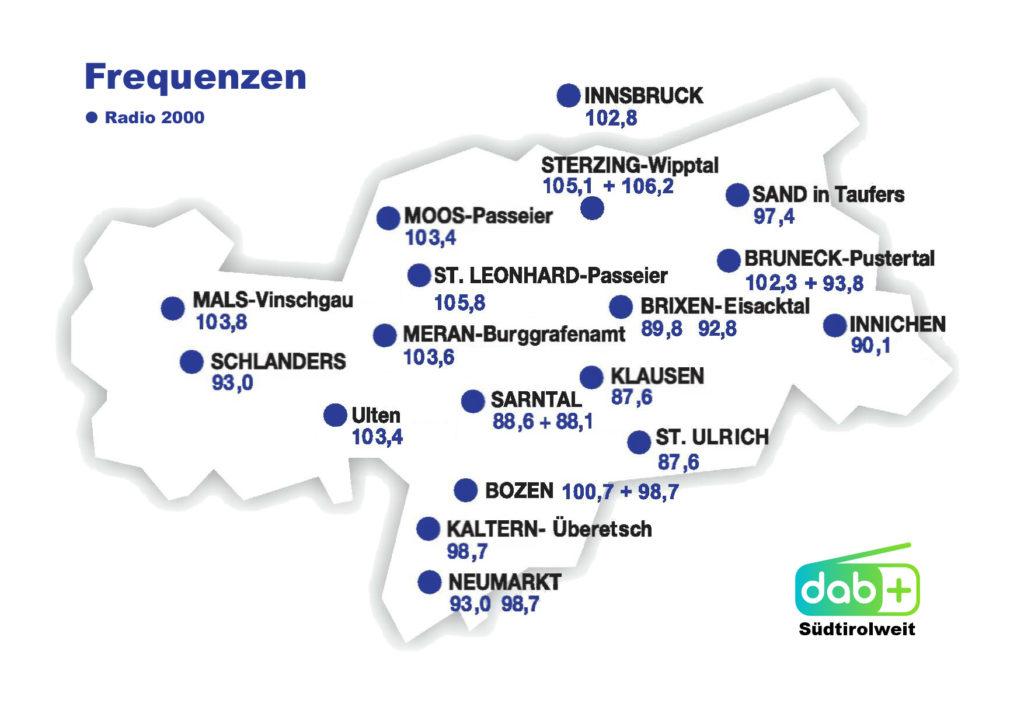 Radio 2000 Frequenzen Südtirol